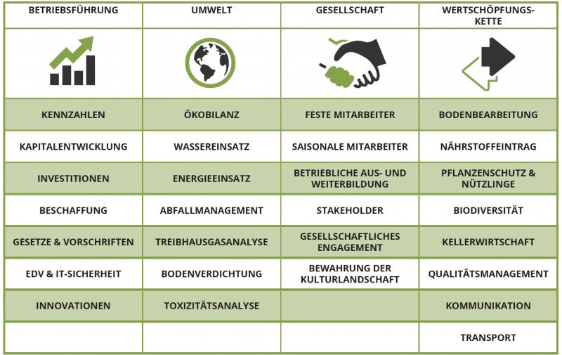 Übersicht Kategorien FAIR'N GREEN Nachhaltiger Weinbau Zertifikat